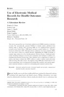 Use of Electronic Medical Records for Health Outcomes Research