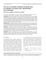 The use of routinely collected computer data for research in primary care: opportunities and challenges