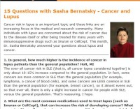 15 Questions with Sasha Bernatsky - Cancer and Lupus