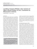 Avoiding Common Pitfalls in the Analysis of Observational Studies of New Treatments for Rheumatoid Arthritis